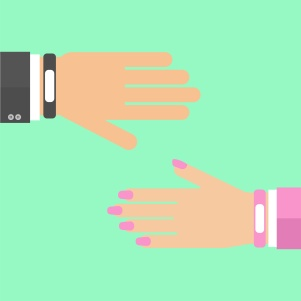 hands with smart wristband bracelet